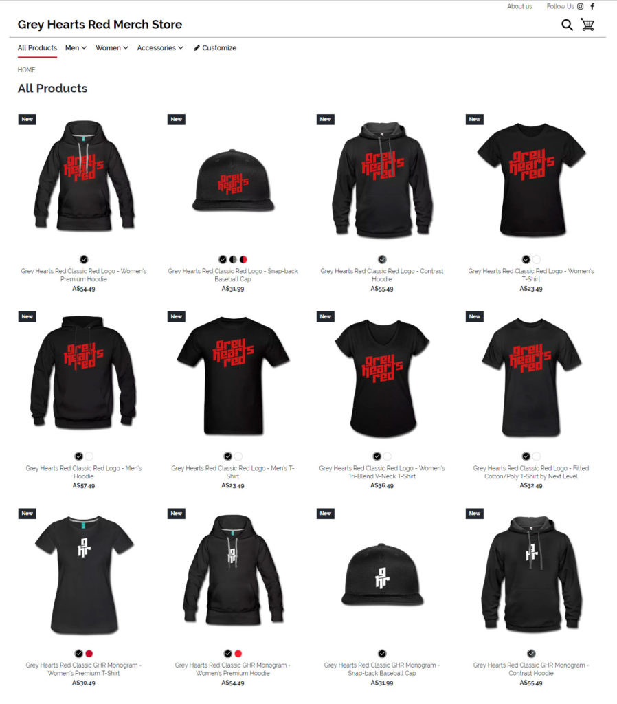 Grey Hearts Red Merch Store